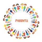 Families with kids background - circle frame design Royalty Free Stock Images