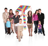 Families and kite. On white stock photography
