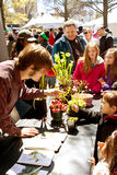 Families Look At Carnivorous Plants Exhibited In Atlanta Science Fair Stock Image