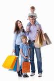 Families met zakken Stock Fotografie