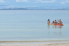 Families paddle in a sea kayak. Thailand Royalty Free Stock Photos