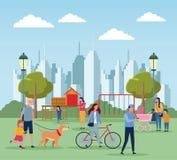 Families in park royalty-vrije illustratie