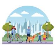 Families in park vector illustratie