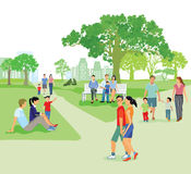 Families in the park in Summertime stock illustration