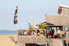 Families people beach restaurant, Renesse, Netherlands