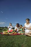 Families picnic. Outdoors with food Stock Photos