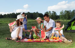 Families picnic. Outdoors with food Stock Image