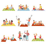 Families On Picnic Outdoors. Bright Color Cartoon Simple Style Flat Vector Set Of Stickers On White Background royalty free illustration