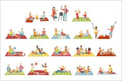 Families On Picnic Outdoors. Bright Color Cartoon Simple Style Flat Vector Set Of Stickers Isolated On White Background vector illustration