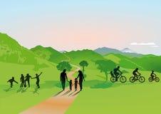 Families in platteland stock illustratie