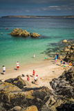 Families at the Porthgwidden Beach Stock Photos