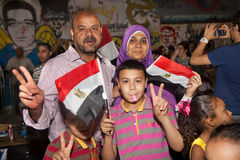 The Families sharing Egyptian revolution Stock Photo