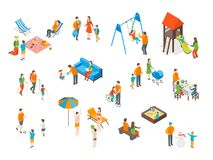 Families Spending Free Time 3d Icons Set Isometric View. Vector vector illustration
