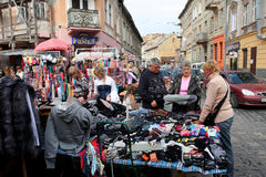 Families on the street market Royalty Free Stock Image