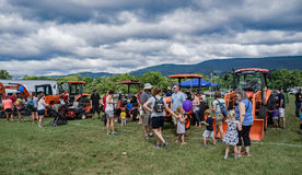 Families at the 8th Annual Touch-A-Truck Stock Photo