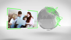 Families together around the world with Earth image courtesy of Nasa.org stock footage