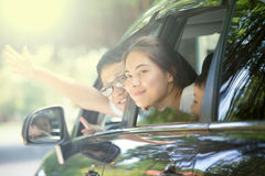 Families. Are traveling by car stock photos