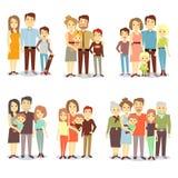 Families verschillende types vlakke vector geplaatste pictogrammen royalty-vrije illustratie