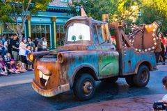 Disney Pixar Cars Tow Mater. Families view the Disney Pixar parade at California Adventure stock photography