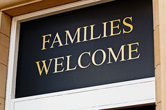 Families welcome sign. Outside restaurant inviting children to eat bar meals in selected licensed premises stock photo