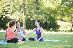 Families with young Russian mother and daughter are talk about e. Xercise. After practice yoga at the park finished. Health and Fitness concept stock images
