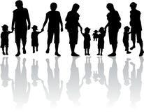 Familiesilhouet - Illustratie stock foto's