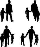 Familiesilhouetten - Illustratie Stock Foto's