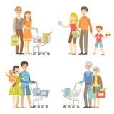 Familieskruidenierswinkel die samen winkelen vector illustratie