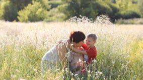 Familievakantie in aard - de moeder en de zoon wandelen door het de zomergebied stock videobeelden