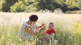 Familievakantie in aard - de moeder en de zoon wandelen door het de zomergebied stock footage