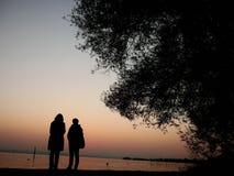 Familiy at lake with sunset stock photo
