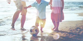 Familiy Leisure Togethernesss Football Soccer Beach Concept Royalty Free Stock Images