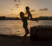 Familiy at Sunset around Willemstad Royalty Free Stock Photos