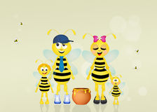 Familj av bin Arkivfoto