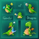 Familj av drakar vektor Royaltyfri Fotografi
