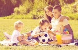 Familj av fyra som har picknicken Arkivfoto