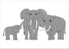Familj av gulliga tecknad filmelefanter royaltyfri illustrationer