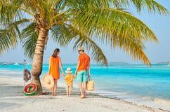 Familj av tre på stranden under palmträdet arkivbilder