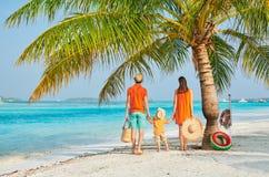 Familj av tre p? stranden under palmtr?det royaltyfri foto