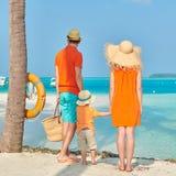 Familj av tre p? stranden under palmtr?det royaltyfri fotografi