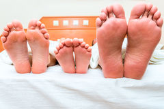 Familj av tre personer som sover i en säng Arkivbild