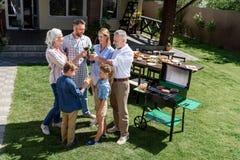 Familj av tre utvecklingar som klirrar exponeringsglas, medan göra grillfesten Royaltyfri Fotografi