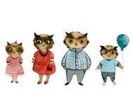 Familj av ugglor i kläder vektor illustrationer