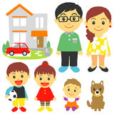 Familj barn, hus, bil Royaltyfria Bilder