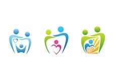 Familj barnuppfostran, tandvårdlogo, symbol för vård- utbildning för tandläkare, vektor för fastställd design för familjillustrat royaltyfri illustrationer