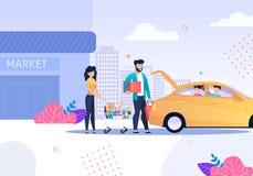 Familj efter att ha shoppat och taxiservicetecknad film royaltyfri illustrationer