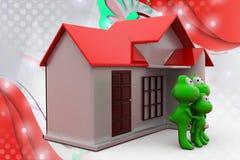 familj för groda 3d med den hem- illustrationen Arkivbild