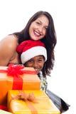 Familj för lycklig jul Fotografering för Bildbyråer