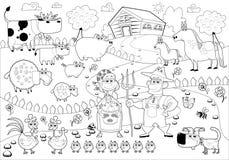 Familj för rolig lantgård i svartvitt. Arkivbild
