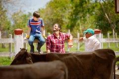 Familj för tre utvecklingar av bönder som skrattar i lantgård Arkivfoton